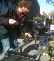 Sean shooting DSLR on the Dana Dolly at Corduroy Media studio